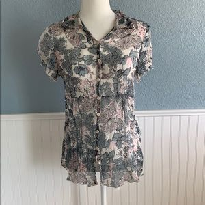 Cabi blue and pink butterfly blouse